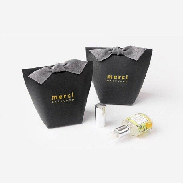 Merci Beaucoup Bags With Ribbon Favor Holders | Bridelily - Black / 100PCS - favor holders