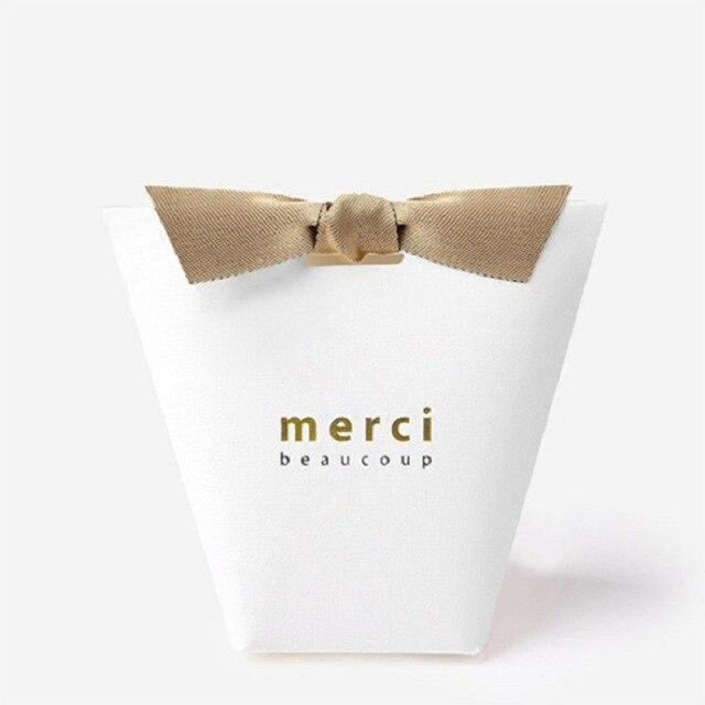Merci Beaucoup Bags With Ribbon Favor Holders | Bridelily - WHITE / 100PCS - favor holders