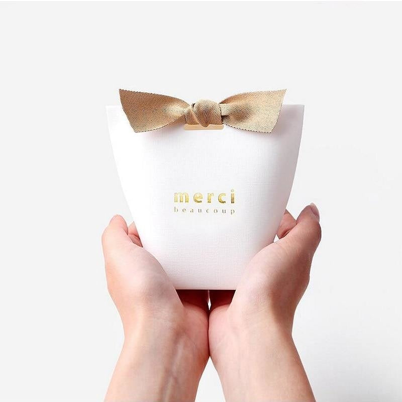 Merci Beaucoup Bags With Ribbon Favor Holders | Bridelily - favor holders