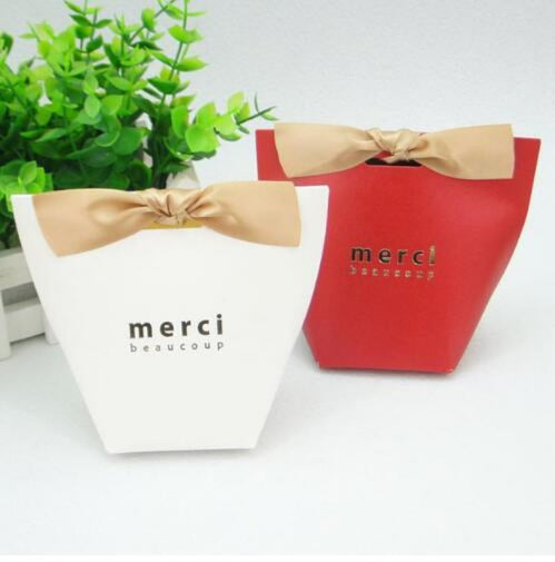 Merci Beaucoup Bags With Ribbon Favor Holders | Bridelily - Beige / 100PCS - favor holders