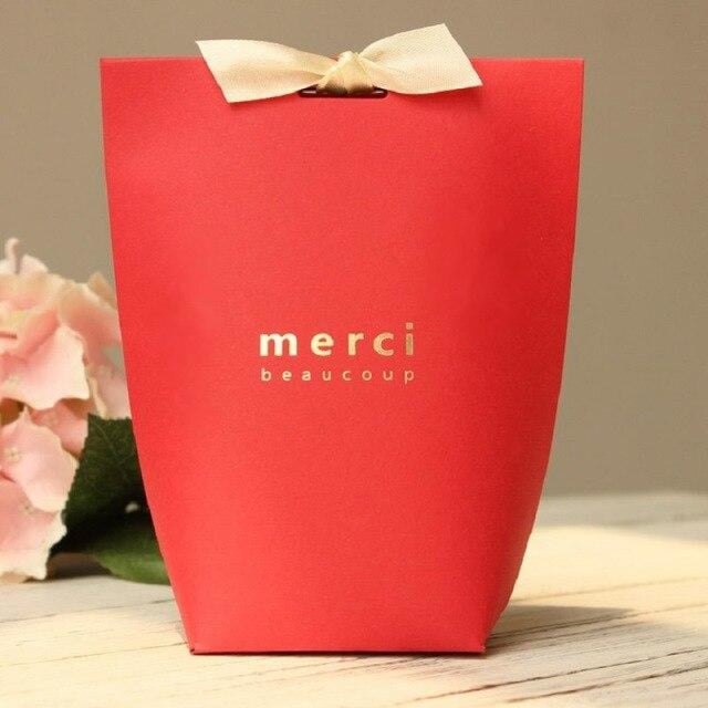 Merci Beaucoup Bags With Ribbon Favor Holders | Bridelily - Red / 100PCS - favor holders