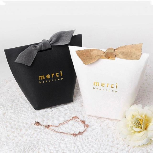 Merci Beaucoup Bags With Ribbon Favor Holders | Bridelily - Coffee / 100PCS - favor holders