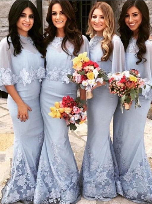 Mermaid Bateau Floor-length Appliques Bridesmaid Dress - Bridesmaid Dresses