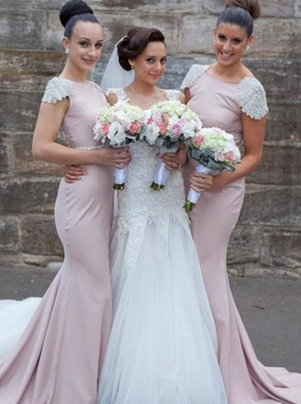 Mermaid Bridesmaid Dress - Pink Bateau Sweep Train Cap Sleeves - Bridesmaid Dresses