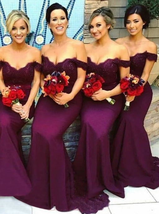 Mermaid Grape Elastic Satin Bridesmaid Dress - Bridesmaid Dresses