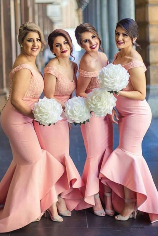 Mermaid High-Low Lace Top Bridesmaid Dress - Bridesmaid Dresses