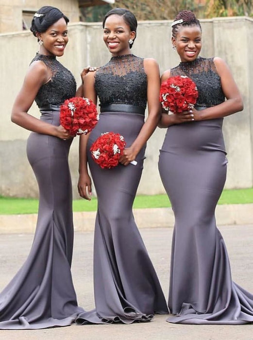 Mermaid High Neck Grey Satin Bridesmaid Dress - Bridesmaid Dresses