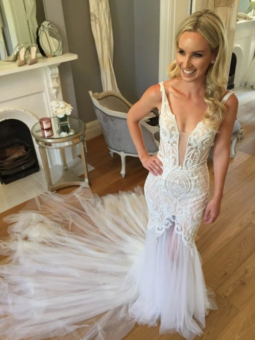Mermaid Lace Deep V-neck Tulle Beach Wedding Dress - Wedding Dresses