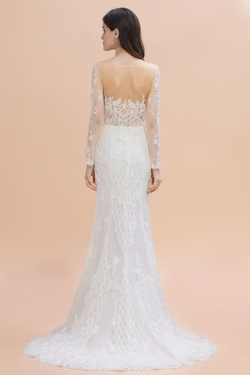 Mermaid Lace Long Sleeve Sheer Tulle Wedding Dresses With Detachable Train - wedding dresses