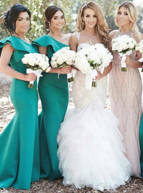 Mermaid One Shoulder Green Satin Long Bridesmaid Dress - Bridesmaid Dresses