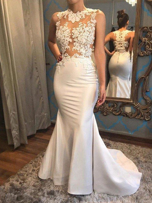 Mermaid Scoop Sleeveless Satin Applique Court Train Wedding Dresses - wedding dresses