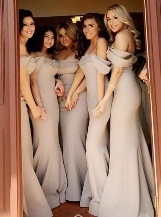 Mermaid Sweep Train Grey Satin Bridesmaid Dress - Bridesmaid Dresses