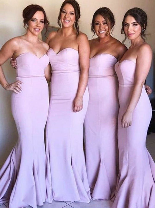 Mermaid Sweetheart Pink Satin Long Bridesmaid Dress - Bridesmaid Dresses