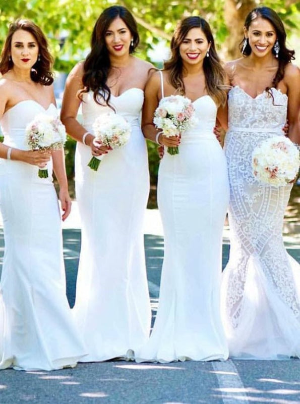 Mermaid Sweetheart Sweep Train White Satin Bridesmaid Dress - Bridesmaid Dresses