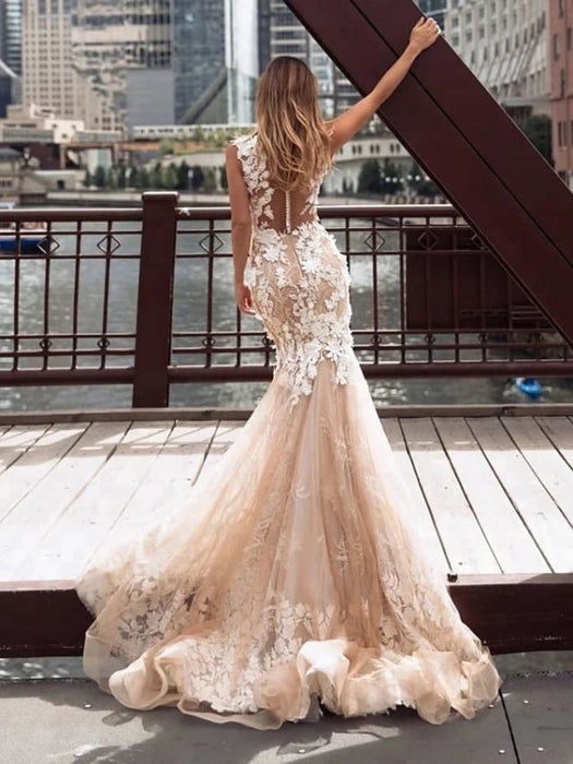 Mermaid \ Trumpet Jewel Neck Chapel Train Lace Tulle Regular Straps Illusion Detail Backless Wedding Dresses - wedding dresses
