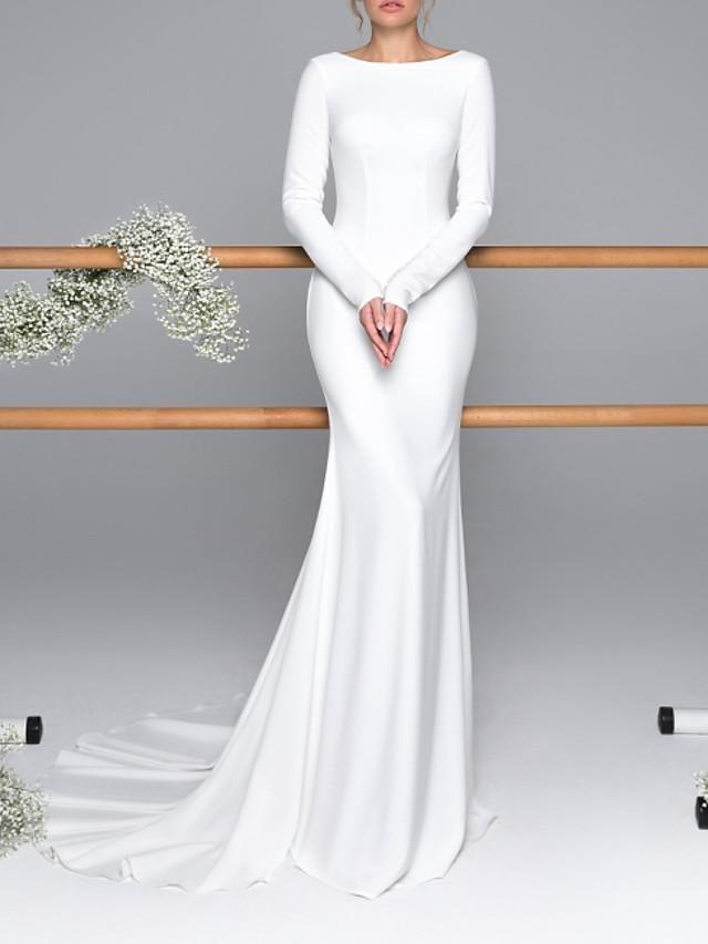 Mermaid \ Trumpet Wedding Dresses Bateau Neck Sweep \ Brush Train Satin Long Sleeve Mordern Backless - wedding dresses