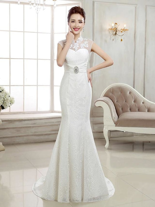Mermaid \ Trumpet Wedding Dresses High Neck Sweep \ Brush Train Lace Cap Sleeve Sexy Illusion Detail Backless with Beading Appliques 2020 -
