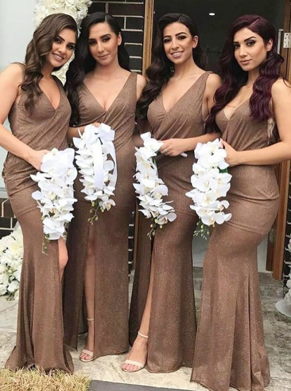 Mermaid V-Neck Long Brown Spandex Bridesmaid Dress - Bridesmaid Dresses