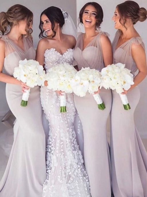 Mermaid V-Neck Sweep Train Light Grey Bridesmaid Dress - Bridesmaid Dresses