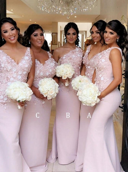 Mermaid V-Neck Sweep Train Pink Satin Bridesmaid Dress - Bridesmaid Dresses