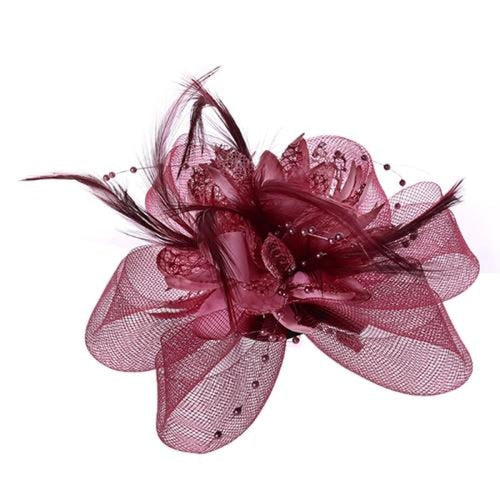 Mesh Beads Feather Flower Clips Fascinators | Bridelily - SR - fascinators