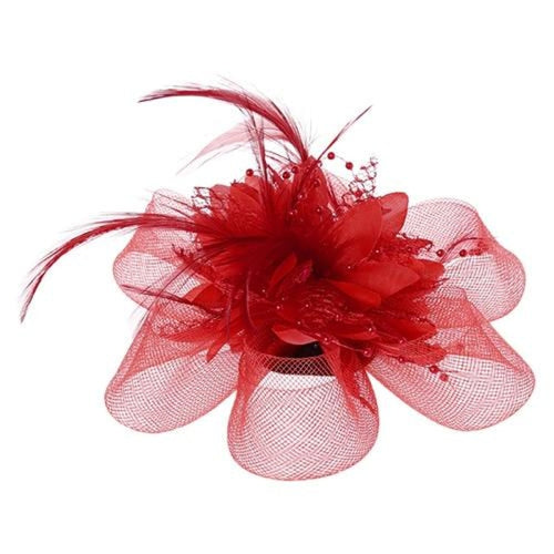 Mesh Beads Feather Flower Clips Fascinators | Bridelily - R - fascinators