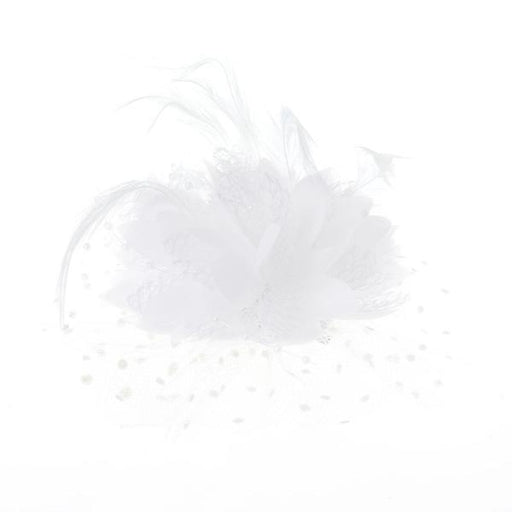 Mesh Bow Beads Dot Veil Feather Flower Fascinators | Bridelily - W - fascinators