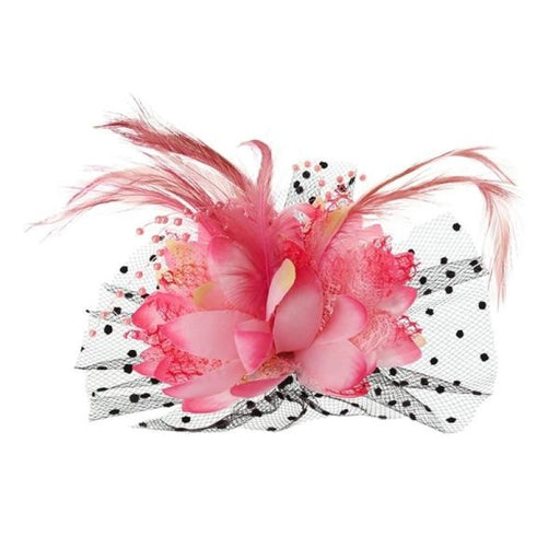 Mesh Bow Beads Dot Veil Feather Flower Fascinators | Bridelily - PK - fascinators