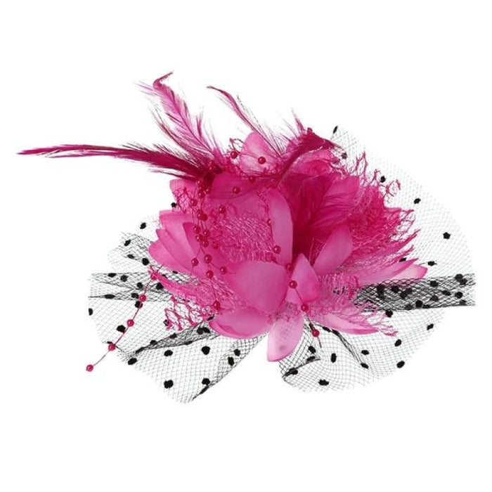 Mesh Bow Beads Dot Veil Feather Flower Fascinators | Bridelily - HP - fascinators