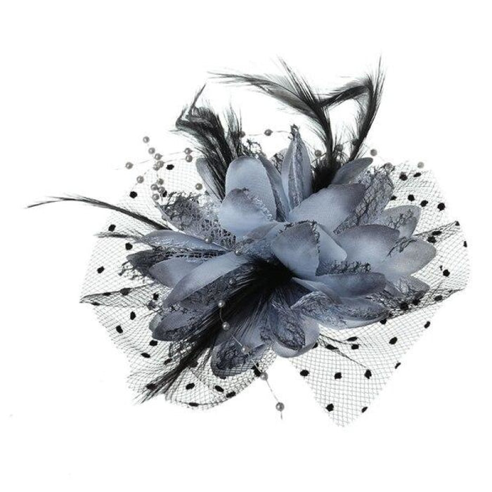 Mesh Bow Beads Dot Veil Feather Flower Fascinators | Bridelily - GY - fascinators