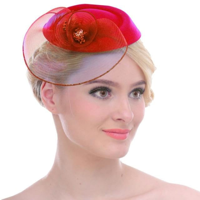 Mesh Net Solid Feather Flower Clips Fascinators | Bridelily - Red - fascinators