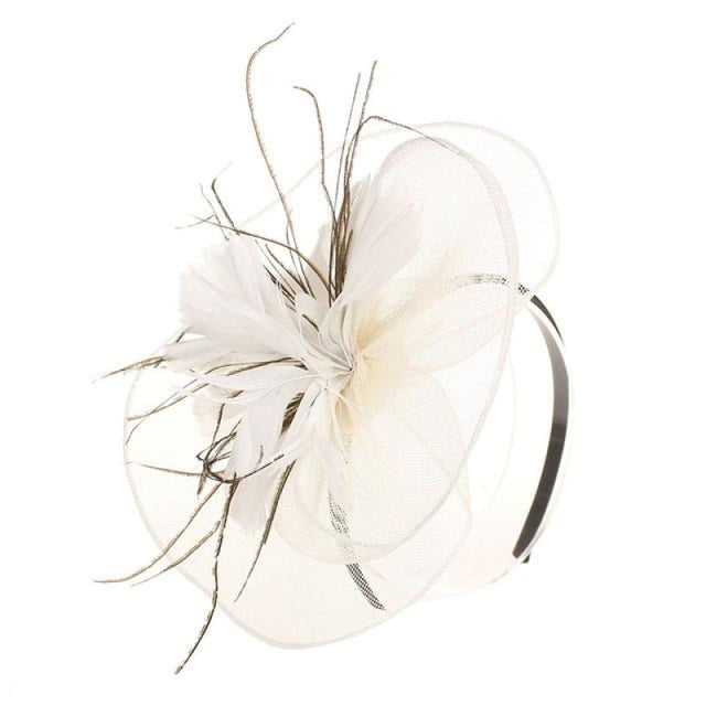 Mesh Veil Hoop Feather Flower Clips Fascinators | Bridelily - beige / free size - fascinators