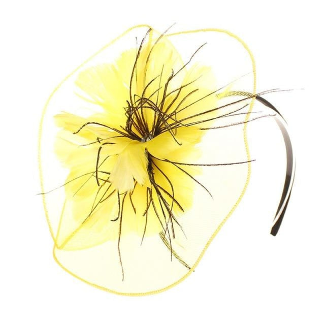Mesh Veil Hoop Feather Flower Clips Fascinators | Bridelily - Yellow / free size - fascinators