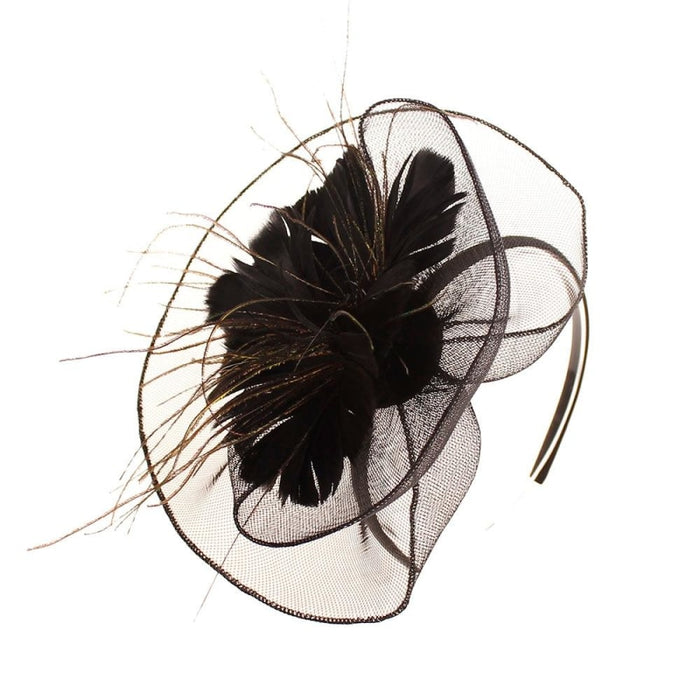 Mesh Veil Hoop Feather Flower Clips Fascinators | Bridelily - fascinators