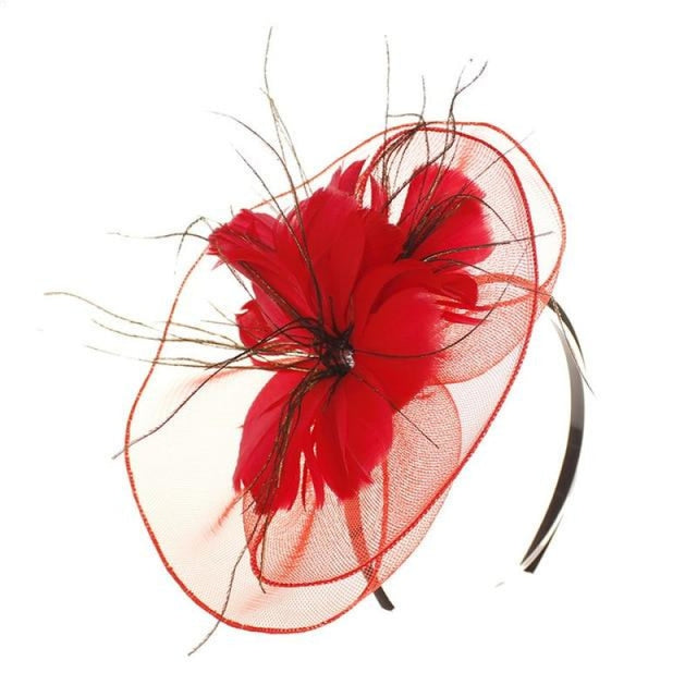 Mesh Veil Hoop Feather Flower Clips Fascinators | Bridelily - red / free size - fascinators