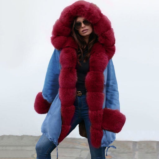 Midnight Blue Hooded Long-length Faux Fur Coats - womens furs & leathers