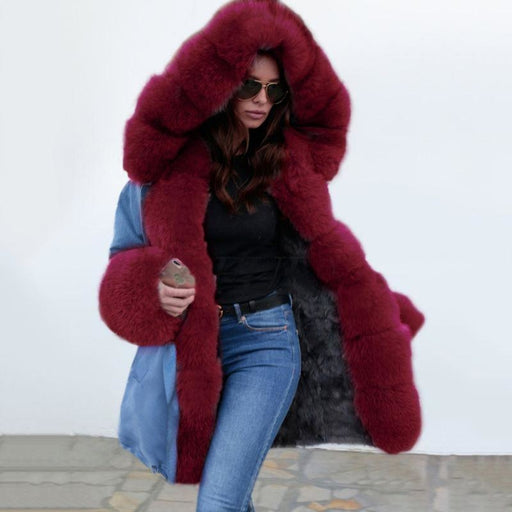 Midnight Blue Hooded Long-length Faux Fur Coats - Burgundy / S - womens furs & leathers