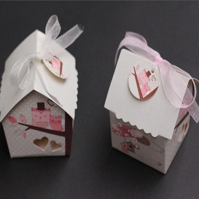 Mini Bird House With Mesh Ribbon Favor Holders | Bridelily - favor holders