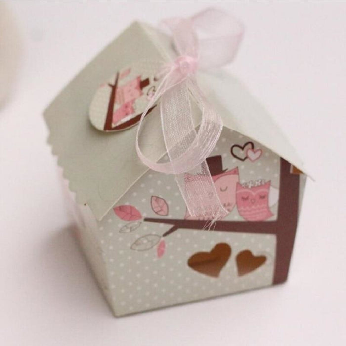 Mini Bird House With Mesh Ribbon Favor Holders | Bridelily - 20pcs - favor holders