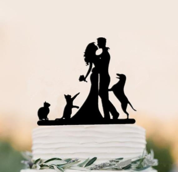 Mixed Style Black Acrylic Bride Cake Toppers | Bridelily - style 1 - cake toppers
