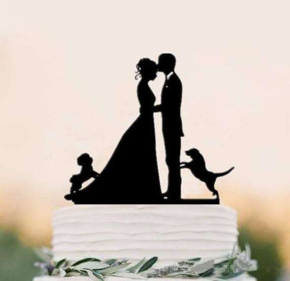 Mixed Style Black Acrylic Bride Cake Toppers | Bridelily - cake toppers