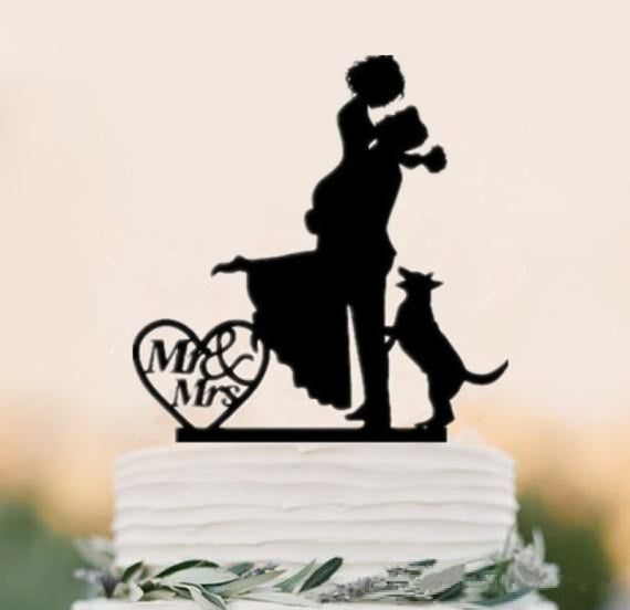 Mixed Style Black Acrylic Bride Cake Toppers | Bridelily - style 8 - cake toppers