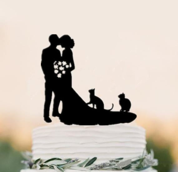 Mixed Style Black Acrylic Bride Cake Toppers | Bridelily - style 7 - cake toppers