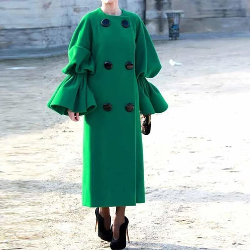 Modern Fashion Pure Colour Bishop Sleeve Coat - Green / S