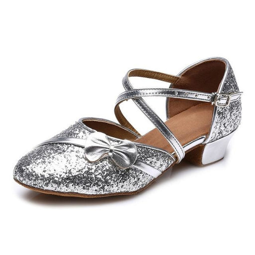 Modern Glitter Buckle Heels Ballroom Dance Shoes | Bridelily - Silver 1 / 10.5 - ballroom dance shoes