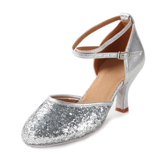Modern Glitter High Heeled Ballroom Dance Shoes | Bridelily - Sequin Silver 5CM / 3.5 - ballroom dance shoes