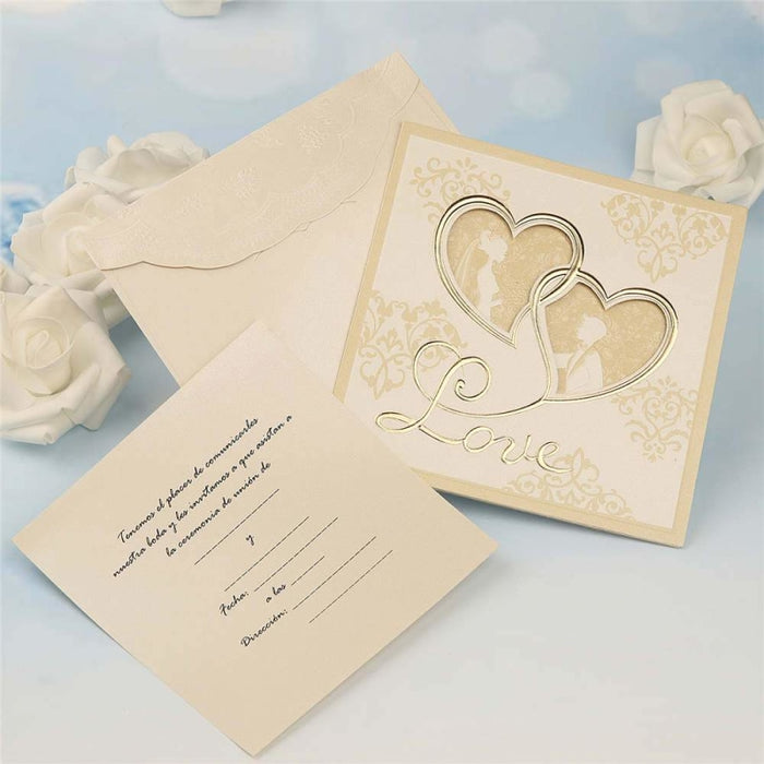 Modern Hollow Heart Style Tri-Fold Invitation Cards (Set of 50) | Bridelily - invitation cards