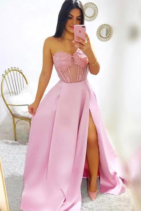 Modest A-line Sweetheart Split Long Dresses Fashion Prom Gowns with Appliques - Prom Dresses