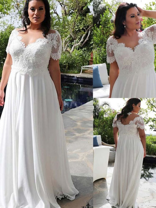 Modest Half-Sleeves V-Neck Lace Ruffles Wedding Dresses - wedding dresses