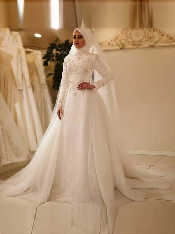 Modest High Neck Long Sleeve Bridal Gowns Lace Bridelily